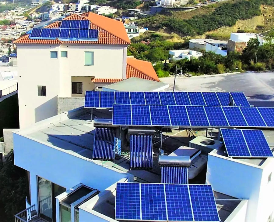 superficie de techo para paneles solares