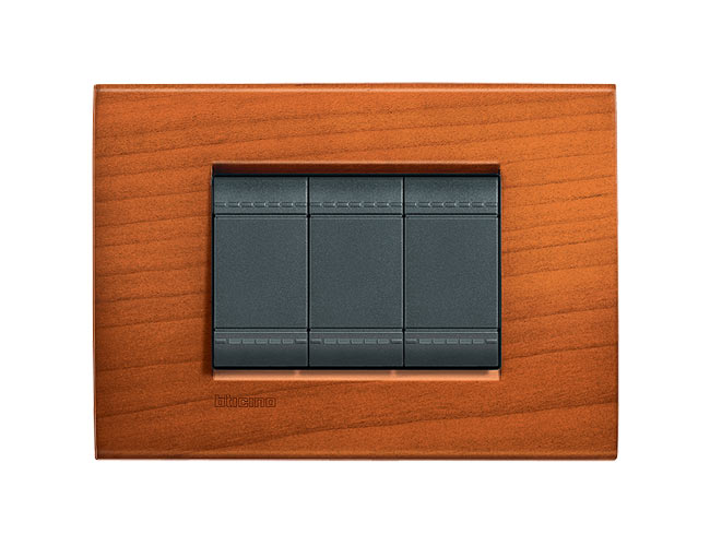 3 interruptores Placa Livinglight Rectangular de Cerezo Americano 3 mod