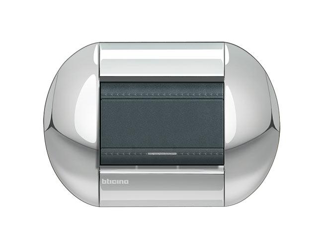 Placa de 1 interruptor Livinglight eliiptica color Cromo pulido 3 mod