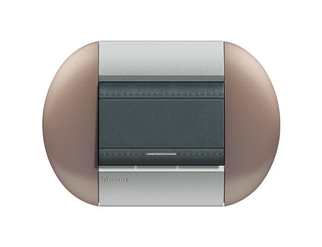 Placa de 1 interruptor sencillo Livinglight eliiptica color Bronce 3 mod