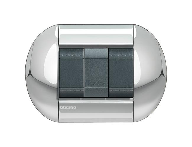 Placa de 2 interruptores Livinglight elíptica color Cromo pulido 3 mod