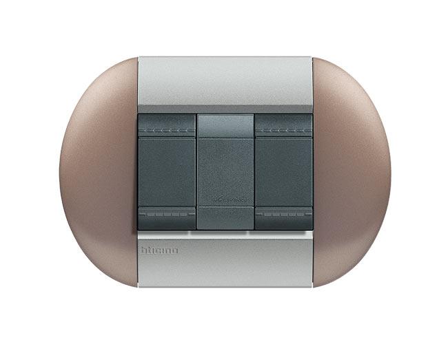 Placa de 2 interruptores Livinglight eliptica color Bronce 3 mod