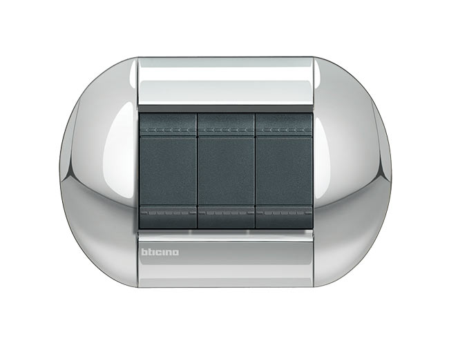 Placa de 3 interruptores Livinglight eliiptica color Cromo pulido 3 mod