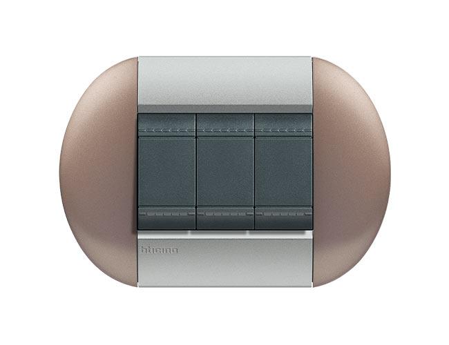 Placa de 3 interruptores Livinglight eliptica color Bronce 3 mod